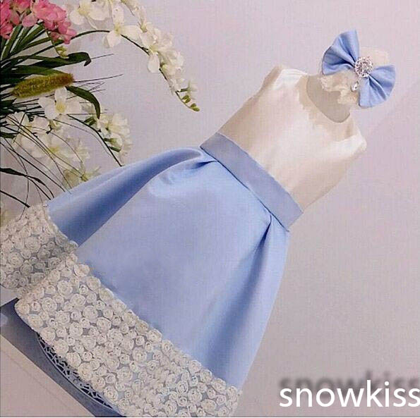 Cute New Elegant White Lace flower girl dresses with Light Blue Bow baby 1 year Birthday Party Dress wedding occasion ball gowns