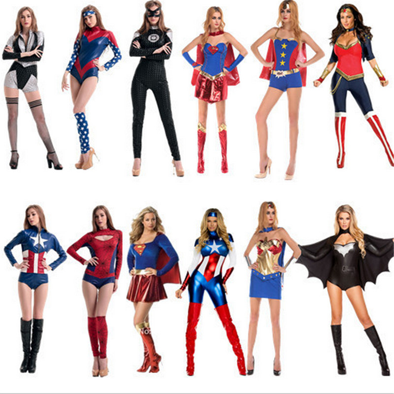 2018 Sexy Women Super Heroine Cosplay Costume Party Avengers Captain America Superwoman Superhero Halloween Costumes for Women lady bug dolls