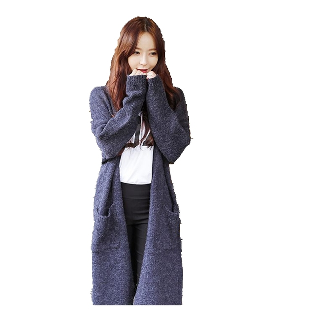 2016 Moda camisola de malha mulheres retro Manga Longa Cardigan outono inverno longos Casacos de Lã Camisolas femal Casaco puxar femme LX6125