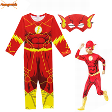 The Flash Costumes Kids Muscle Printed Superhero Cosplay Fancy Dress Party Halloween for Boys Jumpsuits+Mask