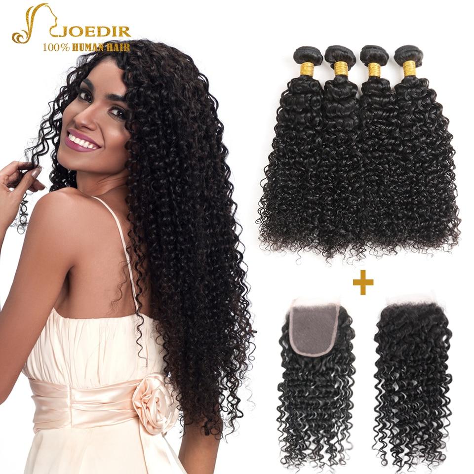 Joedir brasileño rizado rizado cabello humano 2 3 4 paquetes con - Productos de belleza