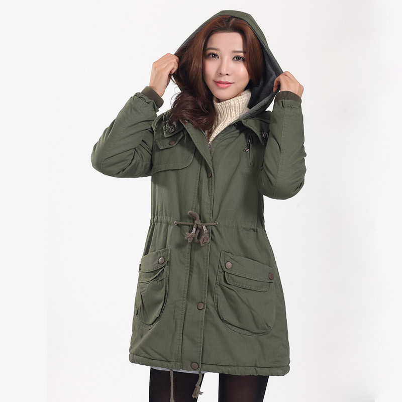 Women Autumn Winter Thin Parka Cargo Style Fashion Army Green Coats Warmer Winter Jackets Slim Fit Casual Cotton Clothing A3413 women thin parka spring autumn plus size 3xl 4xl red black femlae warmer winter cotton jacket slim fit fashion thin parkas a3444