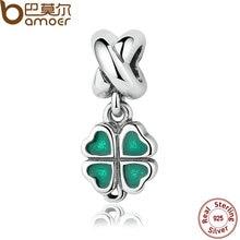 Bamoer real 925 plata esterlina verde trébol de cuatro hojas cuelgan encanto cupieron la pulsera del collar de las mujeres joyería fina pas304