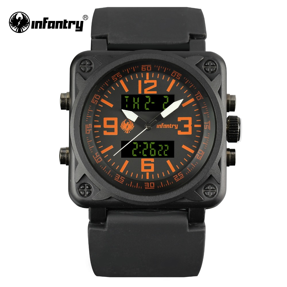 INFANTRY Mens Quartz-Watch Square Face Digital Military Watches Orange Male Clock Fashion Luxury Watch 2017 Relogio Masculino hoska hd030b children quartz digital watch