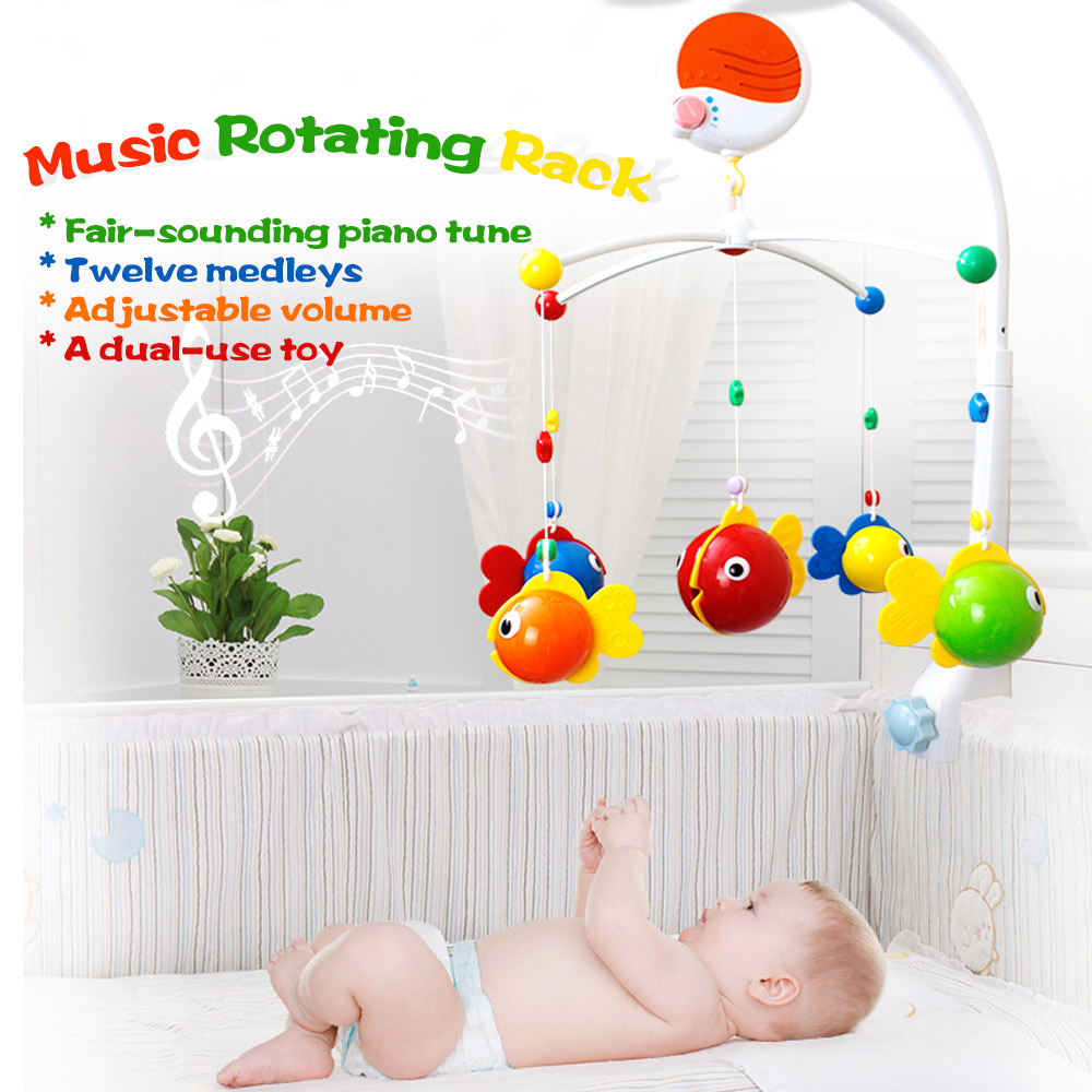 GOODWAY Hanging Baby Rattles Bed Bell Music Rotating Rack Colorful Fish Bed Bell Toys for 0-12 Months Newborn Baby Kids Gift