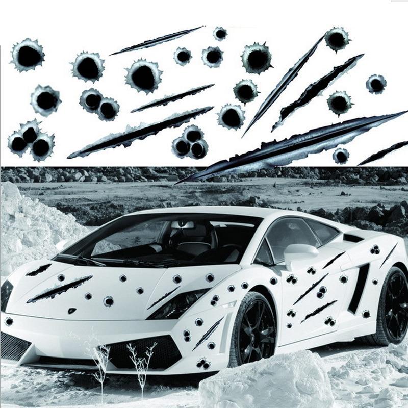 Новинка, Стайлинг автомобиля, 3D Поддельные пули, пушки, забавные автомобильные шлемы наклейки, эмблема, символ, креативные персонализирован...