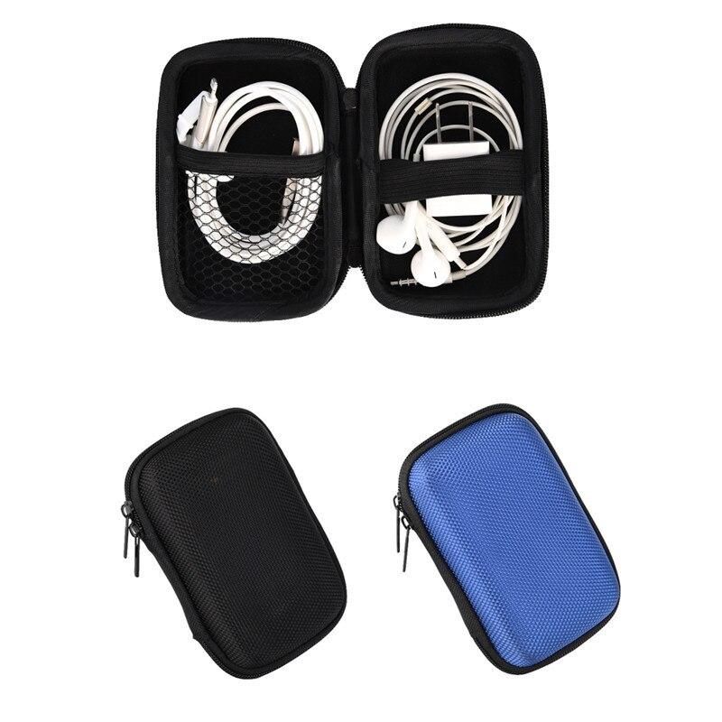 Portable Earphone Cable Bag Mini Zipper Hard Headphone Case Protective Usb Cable Organizer Box