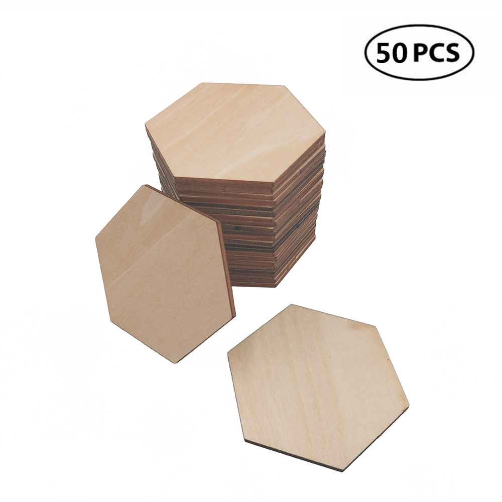50pcs Unfinished Hexagon Cutout Wooden Slices Tags Discs Embellishment Craft