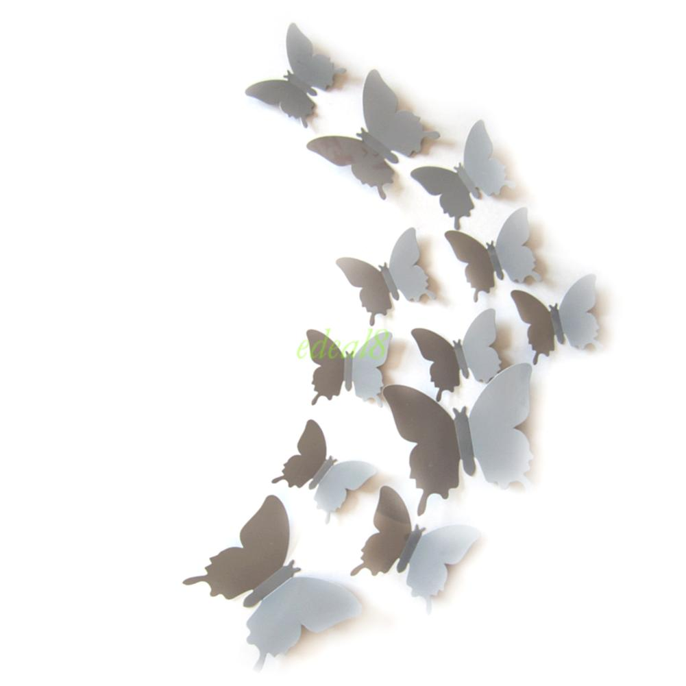 12Pcs Creative Home Decor Art Grey Decal Butterfly Wall Stickers Home Decoration EQC705