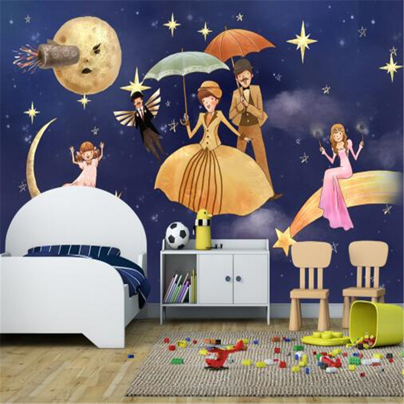 Hand Painted Mural Cartoon Wallpapers for Kids Room Navy Blue Wall Papers Home Decor Cute Family Photo Wallpaper for Living Room cartoon birdcage wall stickers for kids room kindergarten decor