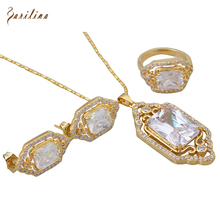hot deal buy brand designer elegant fashion jewelry sets white zircon pendants/ring/earring 18k yellow gold plated s204