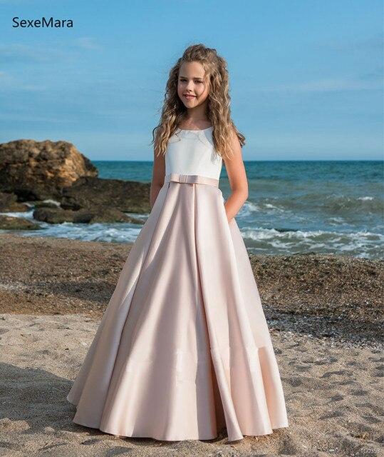 1dc8732d771223 New White Top Pink Flower Girls Dress For Wedding Satin A Line Backless  Girls Birthday Dress