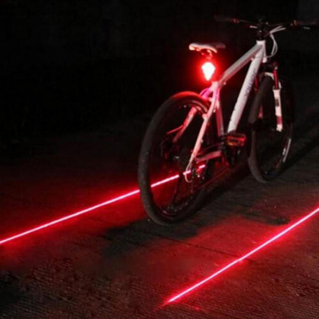 New Bicycle 5 LED 2 Laser Cycling Bike light 7 Flash Mode MTB Safety Rear Lamp waterproof Laser Tail Warning Lamp Flashing