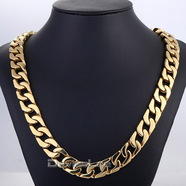 все цены на Davieslee Fashion Gift 13mm Wide Heavy Gold Tone Cut Curb Chain 316L Stainless Steel Necklace Mens Chain Boys Jewelry DLHN61 онлайн
