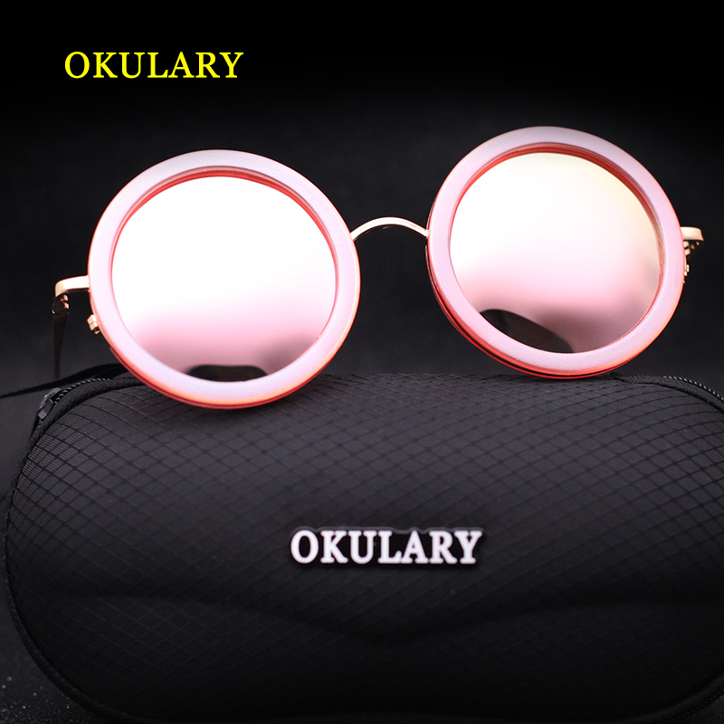 2018 Round Mirror Women Sunglasses 3 Color Pink Blue Silver UV400 Metal Frame With Box Case