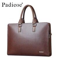 Padieoe Genuine Leather Luxury Men Shoulder 14 Inch Laptop Bag Designer Brand Business Men Briefcase Office Totes Portfolio Bag