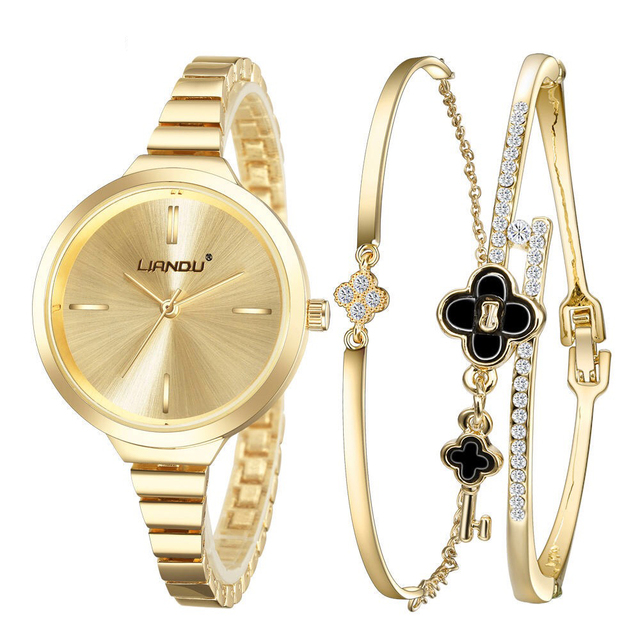 3 Pcs Set Women Rose Gold Diamond Bracelet Watch Fashion Luxury Jewelry Watches