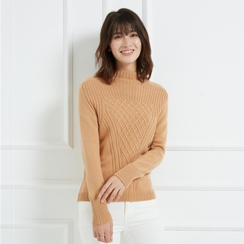 Autumn and winter new high collar pure cashmere sweater fashion soft women's solid color loose pullover sweater thick