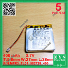 5 pcs./Lot 582728 3.7V 400mah Lithium polymer Battery with Protection Board For PDA Tablet PCs Digital Products 3.7 V 400 mah