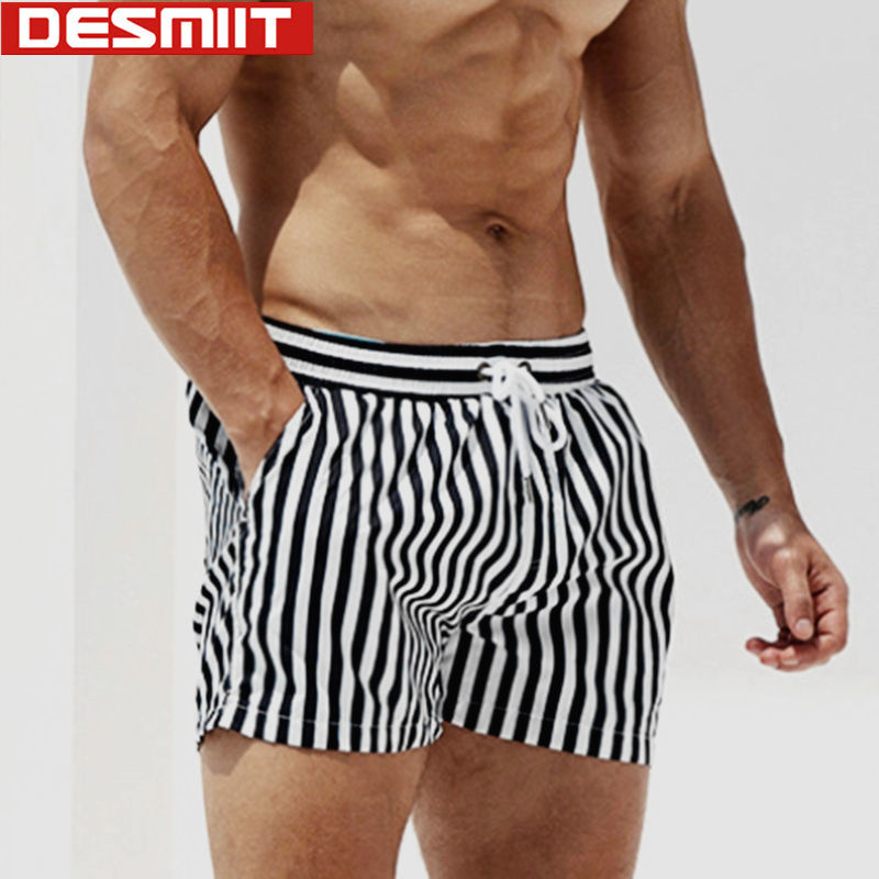 Swimsuit Men Surfing Shorts Beachwear Desmiit Plus-Size Striped For Quick-Dry