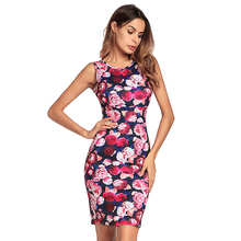 Mulheres Vestido de Verão Vestidos Frete Grátis Elegante Designer Floral Imprimir Work Business Casual Partido vestido do Lápis do vintage
