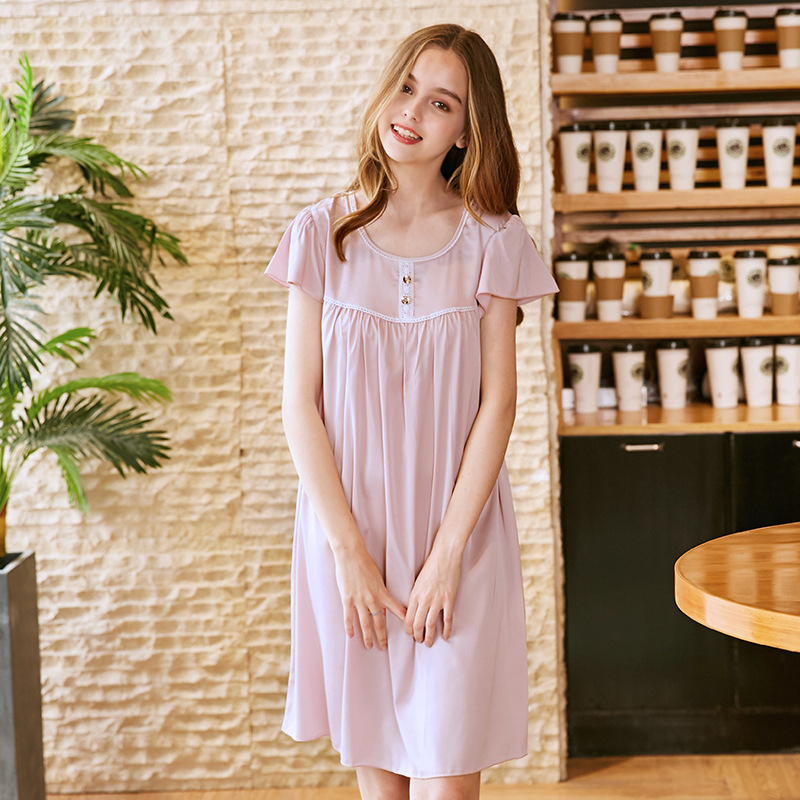 Women   Nightgowns     Sleepshirts   Lovely Satin Sleepwear Princess Style Silk Sleep Lounge Summer Sexy O-Neck Night Dress Short Sleeve