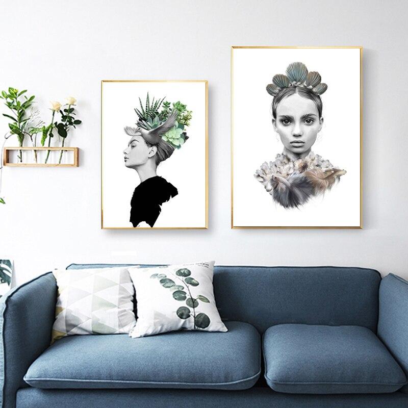 Tableau Cuadros Decoracion Salon Beauty Wall Art Canvas Quadros Cactus Plakat Murale Modern Unframed