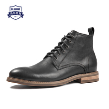 цена на winter man Riding boots Genuine leather short boots mens youth combat boots cowboy shoes men desert boots male Chelsea autumn