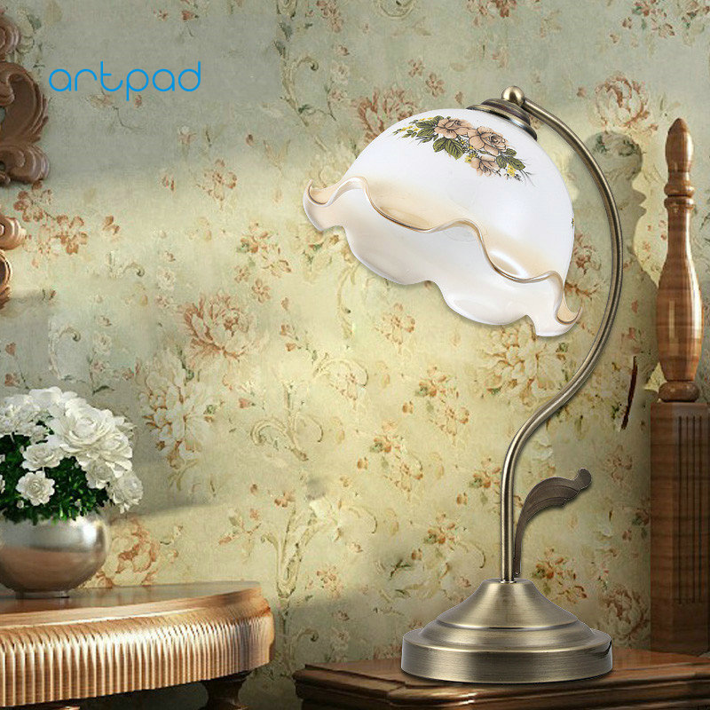 Artpad Modern Dimmable LED Desk Lamp AC 220V Glass Sconce American Style Retro Vintage Bedside Night Light for Study north european style retro minimalist modern industrial wood desk lamp bedroom study desk lamp bedside lamp