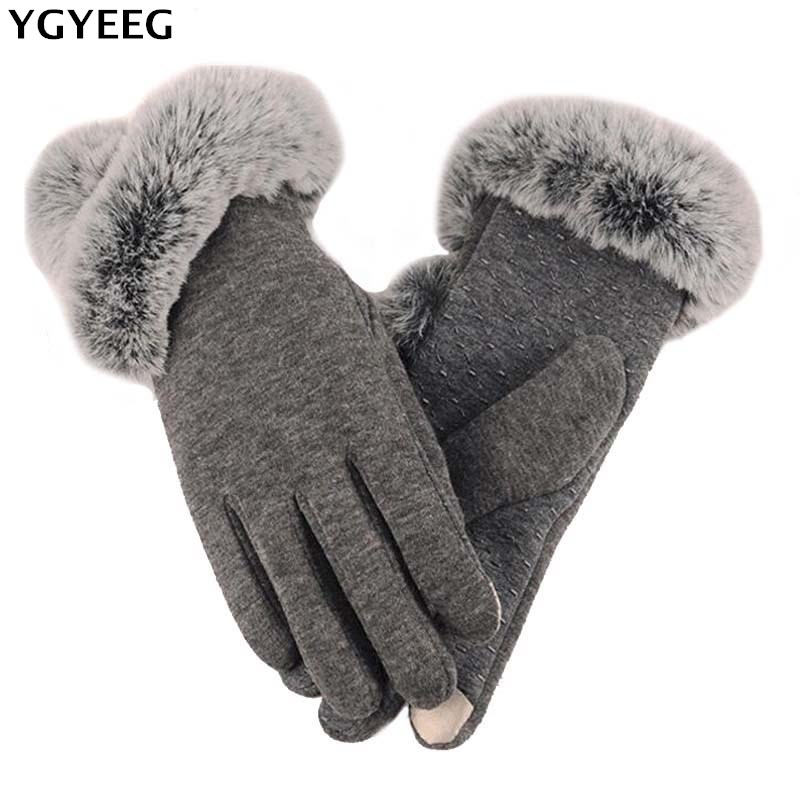 YGYEEG 2019 Winter Warm Women Gloves Female Solid Mitten Fashion Touched Screen Faux Rabbit Fur Wrist Gloves Knitted Guantes