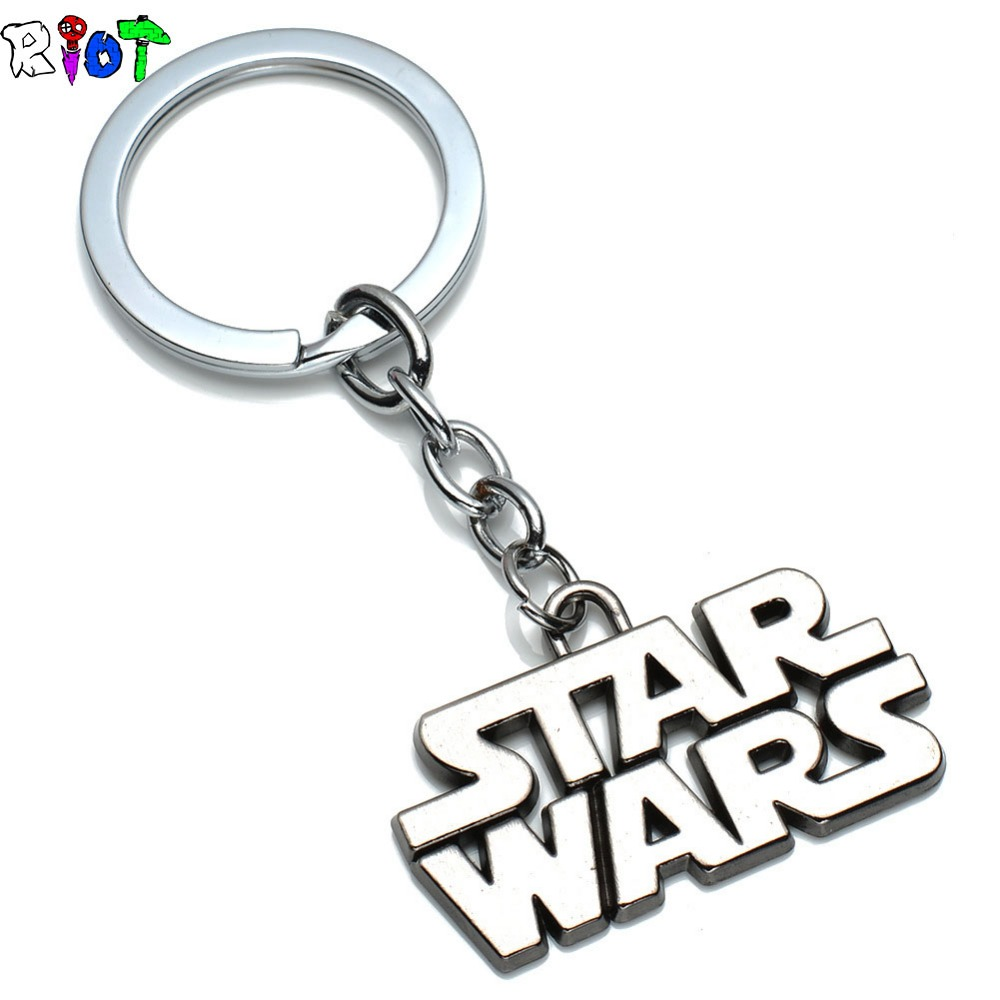 STARWARS Movie Jewelry Gifts Star Wars Letter Souvenirs Keychain Metal Key Rings Gray Color Key Chain Jewelry Promotion