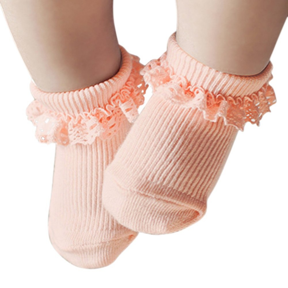 все цены на Newborn Girls Socks Toddler Girl Socks Kid White Pink Dressy Lace Ruffle Trim Antiskid Socks Solid Baby Meias S2 онлайн
