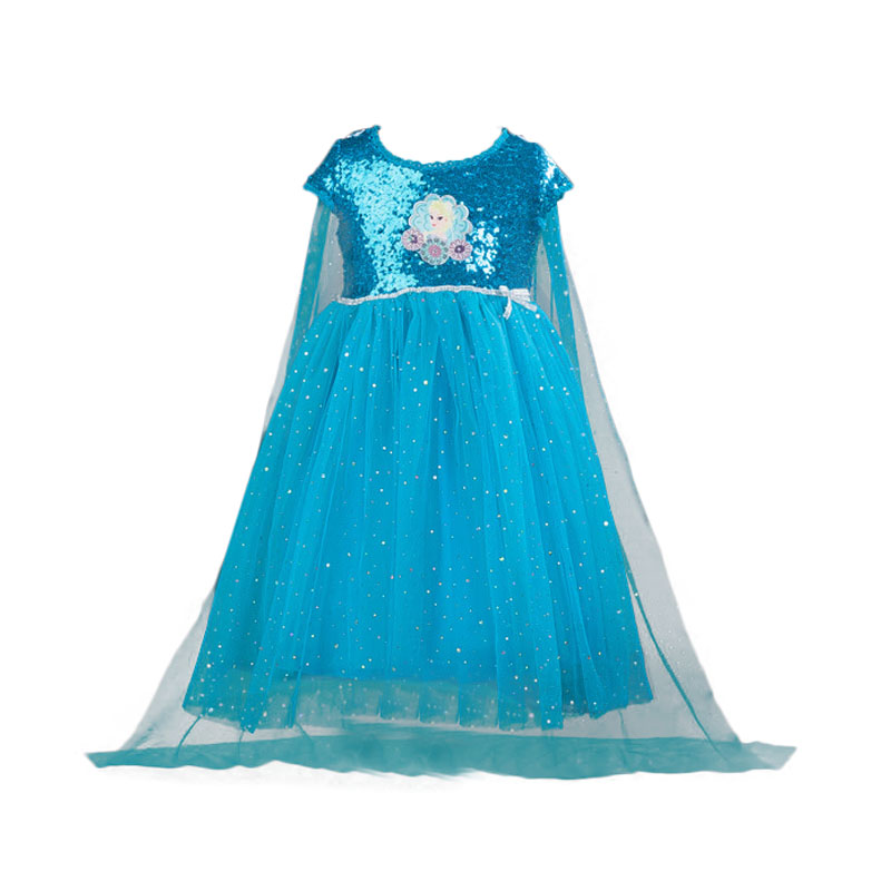 2017 Elsa Dress Girls Best Quality Summer Costume Children Kids Party Elza Snow Queen Clothing O neck Dress Clothes 2016 infantil reloj snow queen princess elsa anna cartoon watch 3d children kids quartz wristwatches clock