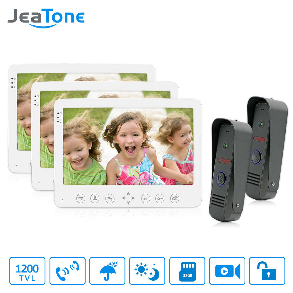 JeaTone 7 TFT LCD Wired Video Door Phone Intercom Unlocking Doorbell Home Security Camera Night Vision  Doorbell Free Shipping jeatone 7 lcd monitor wired video intercom doorbell 1 camera 2 monitors video door phone bell kit for home security system
