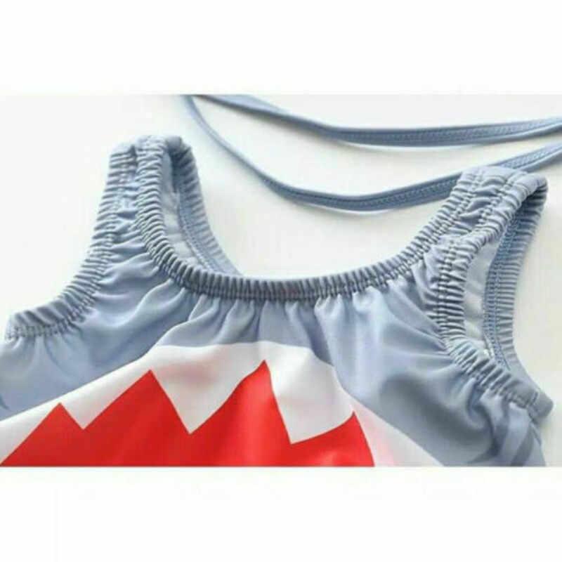 جديد الصيف 2 قطعة الاطفال طفل الفتيان الفتيات ملابس السباحة القرش لطيف قبعة 3D الذيل الرضع الصبي فتاة طفح الحرس زي بحر الملابس مجموعة