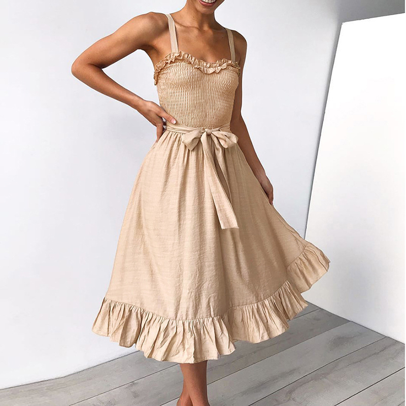 ruffles pleated boho summer beach dress (11)