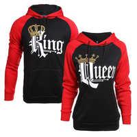 Król korona królowej drukuj Unisex mężczyźni kobiety jesień bluzy dopasowana bluza pary kochanek dopasowanie wygląd bluza swetry z kapturem