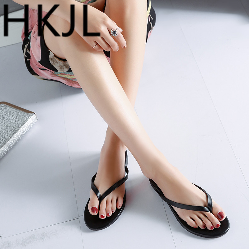 HKJL Fashion Womens summer fashion flip-flops outside wearing new 2019 candy colored sandals A301