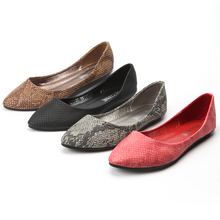 2016 Autumn New Arrival European American Snakeskin PU Flat Shoes Point Toe Casual Flats  Elegant Comfortable Shoes C012-1