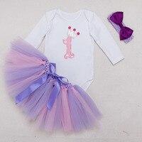3 шт. Комплект Одежда с длинным рукавом фиолетовый для маленьких девочек 1st платье на день рождения корона наряд для вечеринки комбинезон Пы...