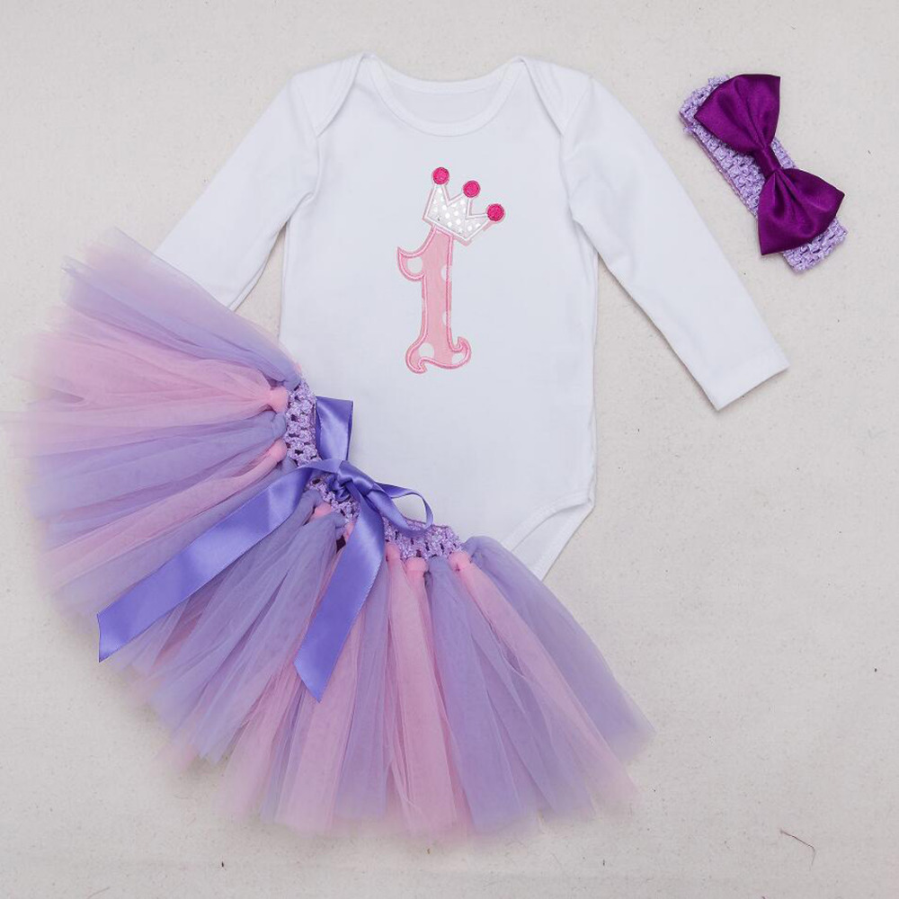 82f7136af765 3PCs per Set Long Sleeves Purple Baby Girl 1st Birthday Dress Crown Party  Outfit Romper Bubble Skirt Headband