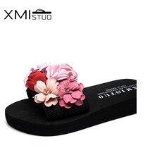 XMISTUO Summer Beautiful Home Flower Slippers Korean Women Sandals House Slides 3CM Low Heels Beach Girls 2 Color 7180