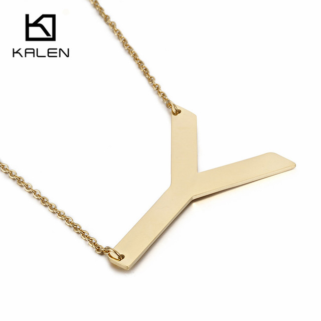 Well-liked Kalen New Design Gold Color Capital Letter Y Necklace Men Jewelry  VM92
