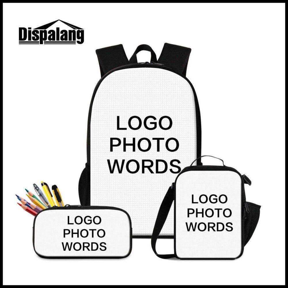 5781f17ac502 3 шт. комплект ваше лого на заказ дизайн рюкзак Lunchbag пенал для школы  обувь мальчиков девочек мода настроить школьный Rugzak