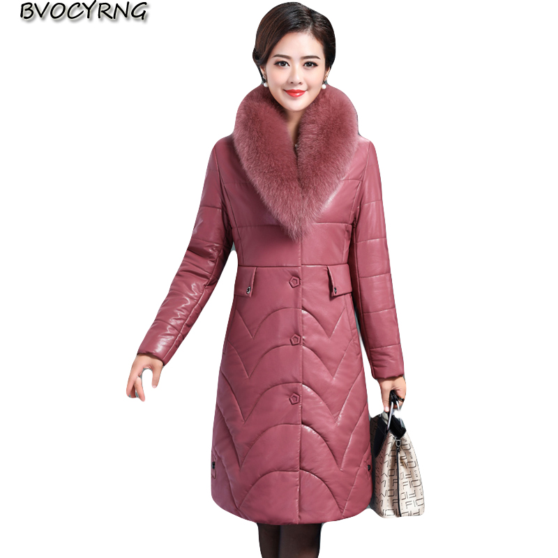 High quality   leather   down jacket women's long plus size   leather   parka 2018 new winter plus velvet fashion slim warm coat female