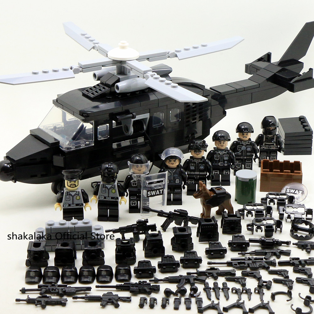Blocks Bricks Figures Helicopter Toys-Boys-Set Soldier SWAT Gifts Cs-Building WW2 Forces-Team