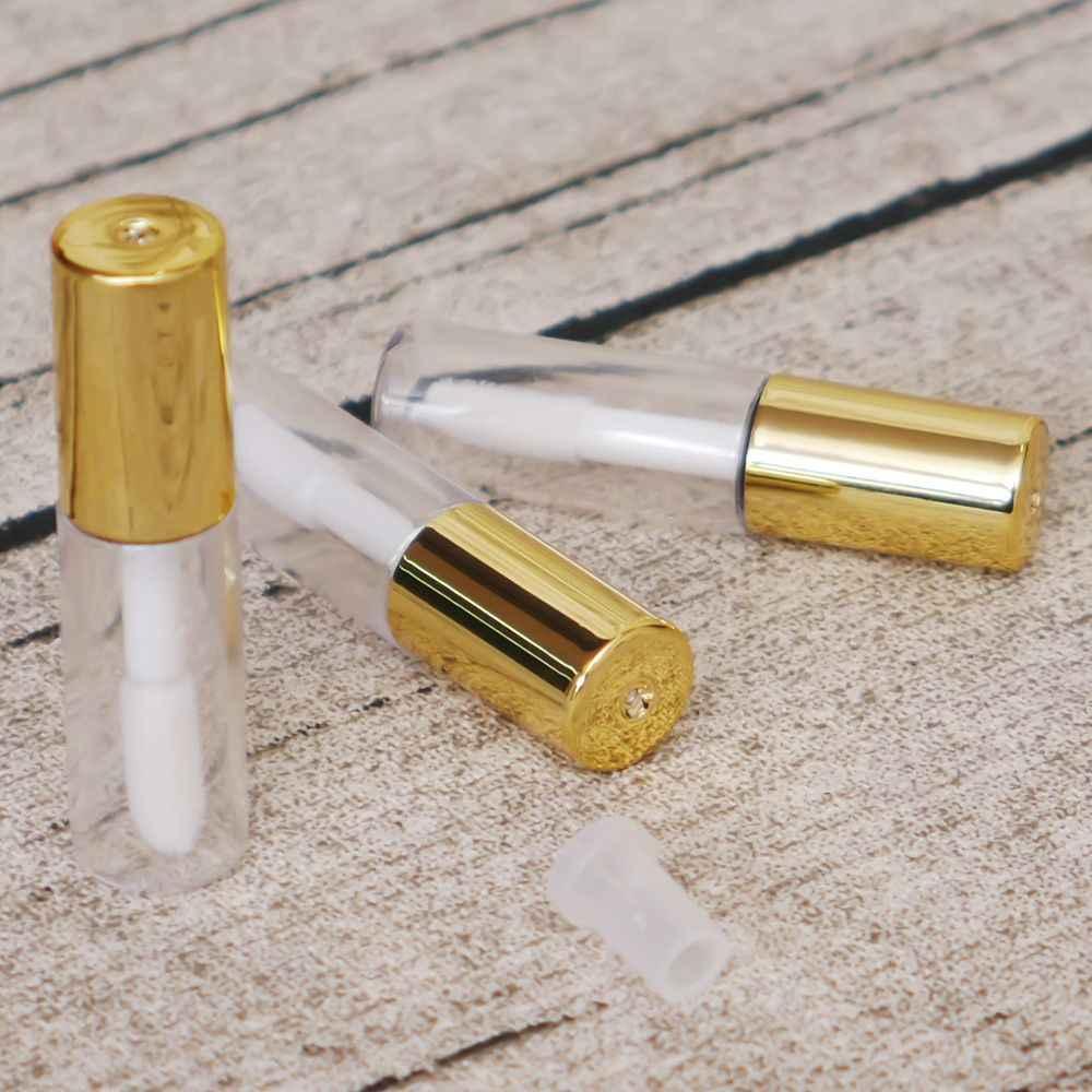 1.2 ML Boş Şeffaf PE dudak parlatıcısı tüpleri Plastik Dudak krem tüpü Ruj Mini Örnek Kozmetik Konteyner Altın Kap Ile