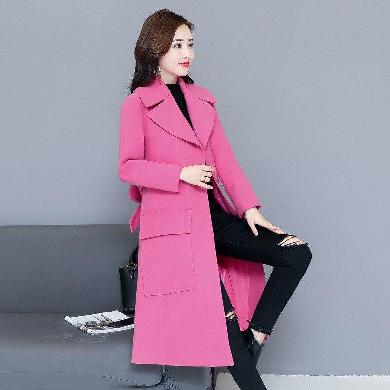 Manteau pourpre Long Seul Col Lady Office Turn Automne Veste Hiver À Bouton Solide Rose Femmes Laine Mélange Et Manteaux down nHOqntWX4
