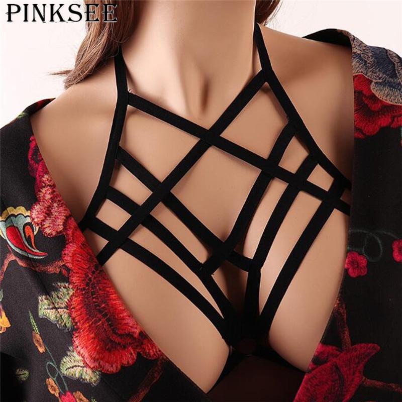 PINKSEE Sexy Hollow Bra Straps Black Elastic Lingerie Harness Crossing Choker Necklace Bandage Beach Bikini Women Clothing Decor 1