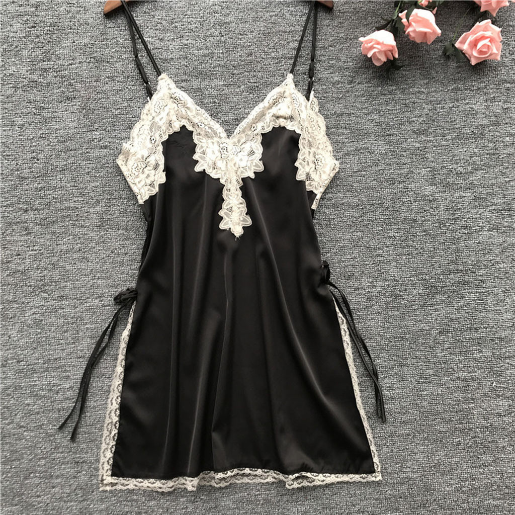 Women Sleepwear Lace Trim V-Neck Strappy Chemise   Nightgown   Slip Lingerie Dress Summmer Sexy Female   Sleepshirt